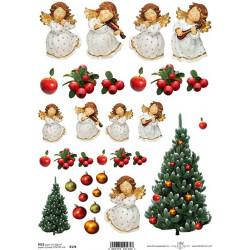 Papír rýžový A4 Andílci a vánoční strom