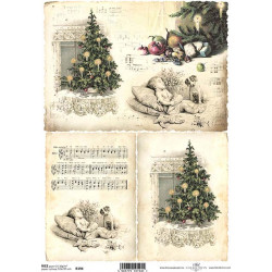 Rýžový papír A4 Vánoční strom, notový záznam