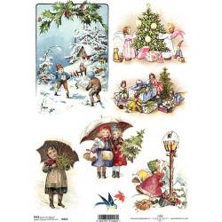 Papír rýžový A4 Vánoční retro obrázky II