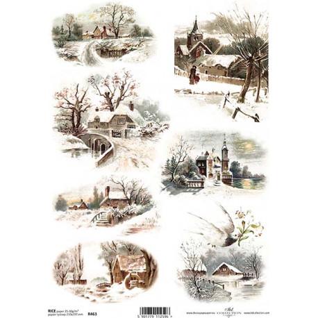 Papír rýžový A4 Zimní obrázky