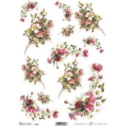 Papír rýžový A4 Kytičky s šípkovou růží