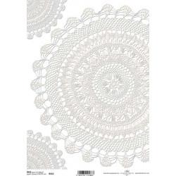 Papír rýžový A4 Krajka - rohy, půlkruh