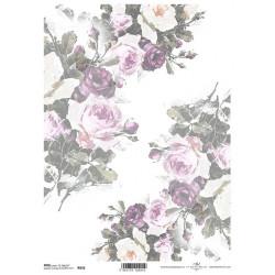 Papír rýžový A4 Růže v rozích, matný