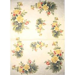 Papír rýžový 35x50 Žluté růže