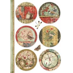 Papír rýžový A4 Oriental Garden - Šest kulatých obrázků