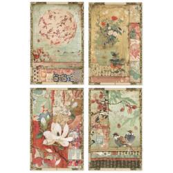 Papír rýžový A4 Oriental Garden - Čtyři kartičky