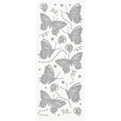 Samolepky motýlci třpytiví stříbrní