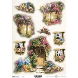 Papír rýžový A4 Dveře a okna s květinami