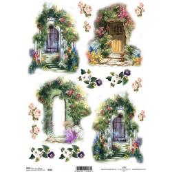 Papír rýžový A4 Dveře zarostlé květinami