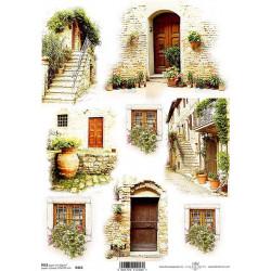 Papír rýžový A4 Vchody do kamených domů