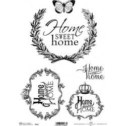Papír rýžový A4 Home Sweet Home, rámečky