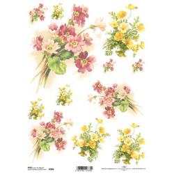 Papír rýžový A4 Žluté a růžové jarní květy