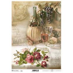Papír rýžový A4 Fiasco s vínem a růže