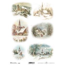 Papír rýžový A4 Kostelíky v zimě