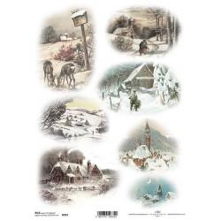 Papír rýžový A4 Zimní obrázky, srnky