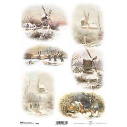 Papír rýžový A4 Větrné mlýny v zimě