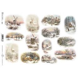 Papír rýžový A4 Malé zimní obrázky, větrné mlýny