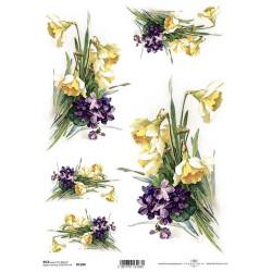 Papír rýžový A4 Narcisy a fialky
