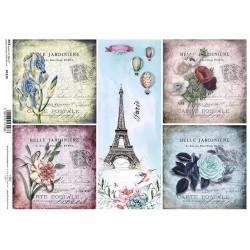 Papír rýžový A4 Čtyři čtverce a pruh s Eiffelovkou