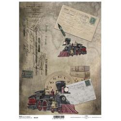 Papír rýžový A4 Parní lokomotiva, post card