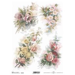 Papír rýžový A4 Čtyři kytice květů