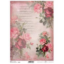 Papír rýžový A4 Růže malované na plátně, noty