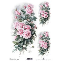 Papír rýžový A4 Kytice růží a včelky
