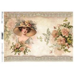 Papír rýžový A4 Žena v klobouku s růžemi
