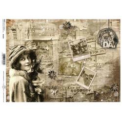 Papír rýžový A4 Vintage zimní s dívkou, v sépiové