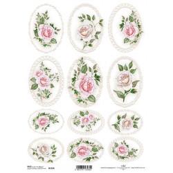Papír rýžový A4 Vintage medailony, růžové růže