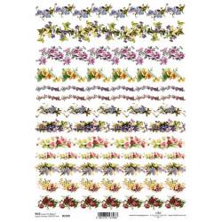 Papír rýžový A4 Květinové ozdobné proužky
