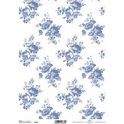 Papír rýžový A4 Celoplošný, růžičky modré větší