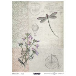 Papír rýžový A4 Polní květina, vážka, bicykl