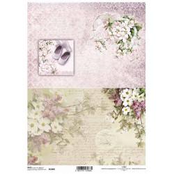 Papír rýžový A4 Dva obrázky, květiny, botičky