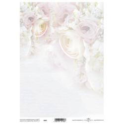 Pergamen pro scrapbook 112g - růže v rohu a písmo