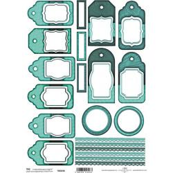 Scrap.papír A4 Visačky, proužky v zelené