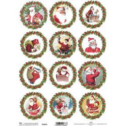 Scrap.papír A4 Santa v kruhu s cesmínou