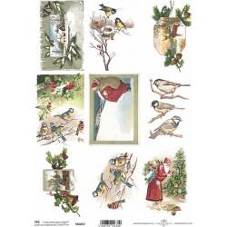Scrap.papír A4 Obrázky s ptáčky a vánočními motivy