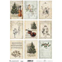 Scrap.papír A4 Kartičky - noty, vánoční stromy, housle