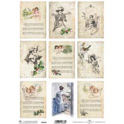 Scrap.papír A4 Kartičky - Vánoce vintage, noty, andílci