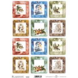 Scrap.papír A4 Čtvercové kartičky, vánoční