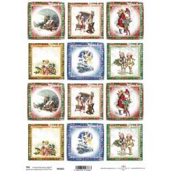 Scrap.papír A4 Kartičky - čtverce s vánočními motivy
