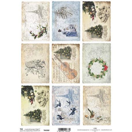 Scrap.papír A4 Kartičky - Vánoce vintage, housle, Eifellovka