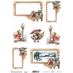 Scrap.papír A4 Vánoční štítky s dětmi