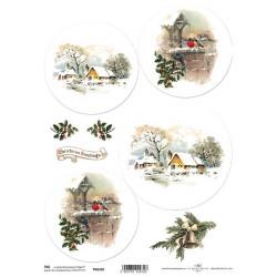 Scrap.papír A4 Zimní kulaté obrázky, zvonice