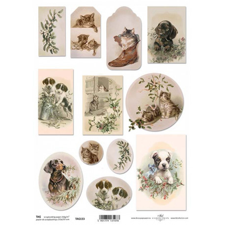 Scrap.papír A4 Obrázky vánoční s pejsky a kočičkam