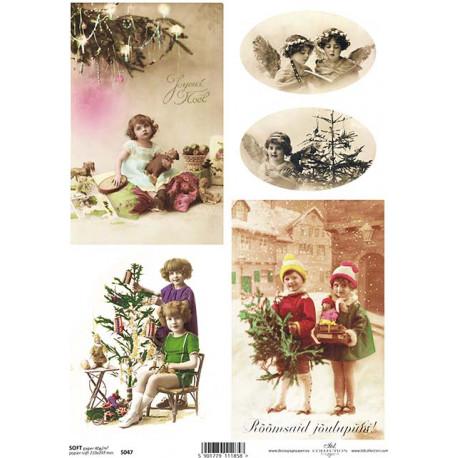 Papír soft A4 Vintage vánoční s dětmi