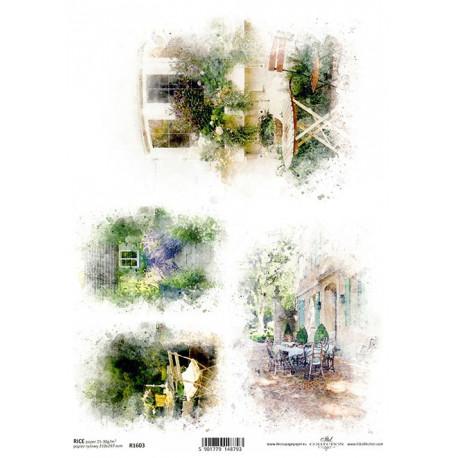 Papír rýžový A4 Romantická zahradní zákoutí