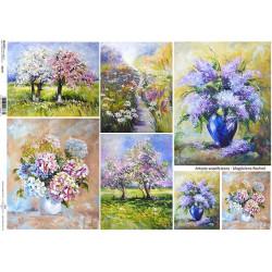 Papír A4 Malované kytice, louka a stromy ITD