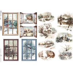 Papír A4 Zimní motivy, okna ITD